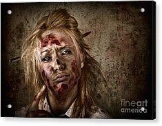 Evil Grunge Zombie Business Woman Thinking Idea Acrylic Print