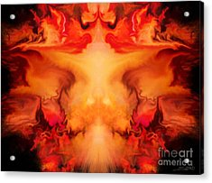 Evil Red Abstract By Spano Acrylic Print by Michael Spano
