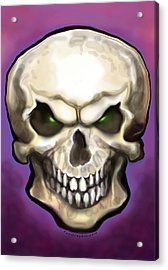 Acrylic Print featuring the painting Evil Skull by Kevin Middleton