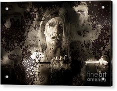 Evil Vampire Woman Looking Into Bloody Mirror Acrylic Print