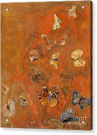 Evocation Of Butterflies Acrylic Print by Odilon Redon