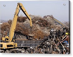 Excavator Moving Scrap Metal With Electro Magnet Acrylic Print by Jeremy Woodhouse