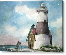 Acrylic Print featuring the painting Execution Rocks Lighthouse by Susan Herbst