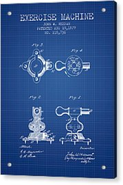 Exercise Machine Patent From 1879 - Blueprint Acrylic Print
