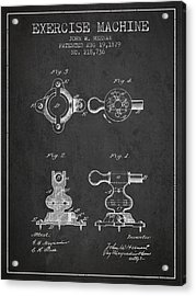 Exercise Machine Patent From 1879 - Charcoal Acrylic Print