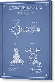 Exercise Machine Patent From 1879 - Light Blue Acrylic Print