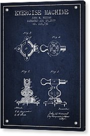 Exercise Machine Patent From 1879 - Navy Blue Acrylic Print