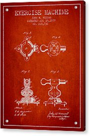 Exercise Machine Patent From 1879 - Red Acrylic Print