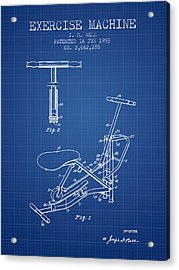 Exercise Machine Patent From 1953 - Blueprint Acrylic Print