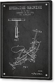 Exercise Machine Patent From 1953 - Charcoal Acrylic Print