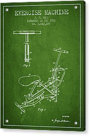 Exercise Machine Patent From 1953 - Green Acrylic Print