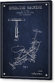 Exercise Machine Patent From 1953 - Navy Blue Acrylic Print