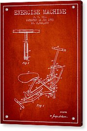 Exercise Machine Patent From 1953 - Red Acrylic Print