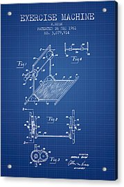 Exercise Machine Patent From 1961 - Blueprint Acrylic Print