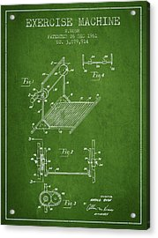 Exercise Machine Patent From 1961 - Green Acrylic Print