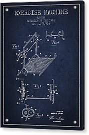Exercise Machine Patent From 1961 - Navy Blue Acrylic Print