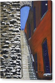 Exorcist Stairs In Winter Acrylic Print by Alan Mager