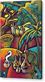 Acrylic Print featuring the painting Exotic East, Coffee And Olive Oil by Leon Zernitsky