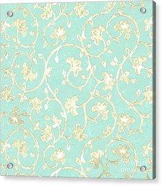 Exotic Golden Baroque Floral Damask Pattern, Robin's Egg Blue Acrylic Print