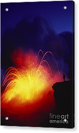 Exploding Lava And Person Acrylic Print by Greg Vaughn - Printscapes
