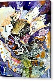 Exploiding Nut Acrylic Print by Mindy Newman