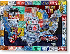 Explore The Usa License Plate Art And Map Travel Collage Acrylic Print by Design Turnpike