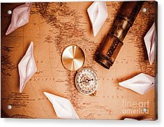 Explorer Desk With Compass, Map And Spyglass Acrylic Print by Jorgo Photography - Wall Art Gallery