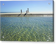Exploring A Tidal Beach Lagoon Acrylic Print