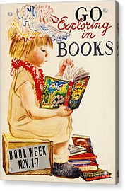 Acrylic Print featuring the photograph Exploring Books 1961 by Padre Art