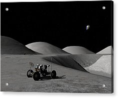 Acrylic Print featuring the digital art Exploring Hadley Rille by David Robinson