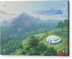 Acrylic Print featuring the digital art Exploring New Landscape Spaceship by Martin Davey