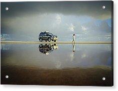 Exploring The Beach On A Rainy Day Acrylic Print