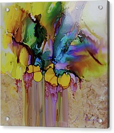 Acrylic Print featuring the painting Explosion Of Petals by Joanne Smoley