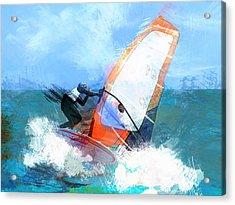 Expressionist Orange Sail Windsurfer  Acrylic Print by Elaine Plesser