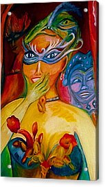 Expressions Of Mardi Gras Acrylic Print by Sidra Myers