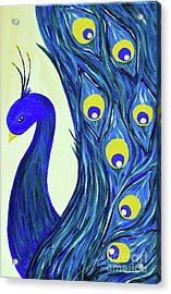 Acrylic Print featuring the painting Expressive Brilliant Peacock B71117 by Mas Art Studio