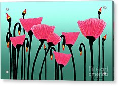 Expressive Red Pink Green Poppy Painting Y1a Acrylic Print