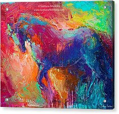Expressive Stallion Painting By Acrylic Print