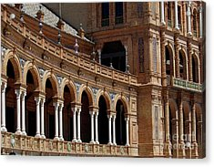Exterior View Of The Plaza De Espana In Seville Acrylic Print by Sami Sarkis