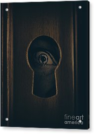 Eye Looking Through Door Keyhole Acrylic Print by Jorgo Photography - Wall Art Gallery