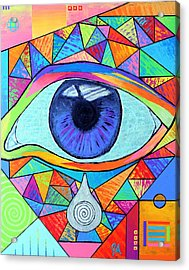 Eye With Silver Tear Acrylic Print by Jeremy Aiyadurai