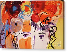 Eyes And Flowers Acrylic Print by Amara Dacer