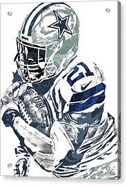 Acrylic Print featuring the mixed media Ezekiel Elliott Dallas Cowboys Pixel Art 5 by Joe Hamilton