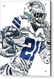 Acrylic Print featuring the mixed media Ezekiel Elliott Dallas Cowboys Pixel Art 6 by Joe Hamilton