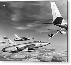 F-105s Refueling In The Air Acrylic Print by Underwood Archives