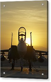 F-15e Sunrise Portrait Acrylic Print by Tim Grams