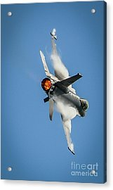 Acrylic Print featuring the photograph F-16 Banks Right by Tom Claud