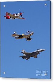 F-16 P-51d F-86 Heritage Flight- Flyby Acrylic Print
