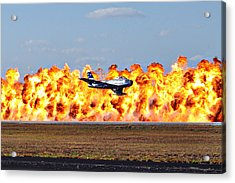 F-86 Wall Of Fire Acrylic Print by Mark Weaver