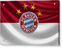 F C Bayern Munich - 3 D Badge Over Flag Acrylic Print by Serge Averbukh